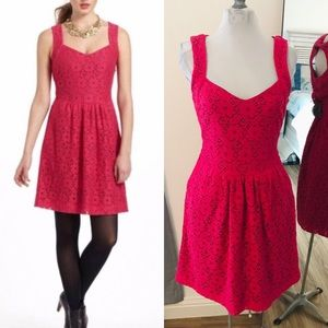 {Anthro} Deletta pink lace cut out dress small